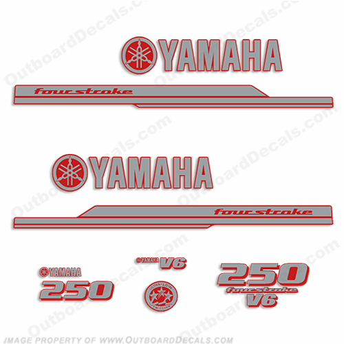 Yamaha 2010+ Style 250hp Decals - Silver/Red