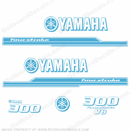Yamaha 2010 Style 300hp Decals - Peacock Blue (Reverse)