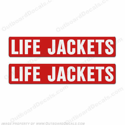Boat Label Decals - Life Jackets (Set of 2)- Red Background