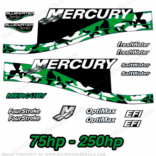 Custom Mercury Camouflage Series 75hp - 250hp Decals - Green