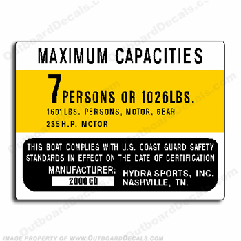 Boat Capacity Plate Decal - HydraSport 2000CD 7 Person