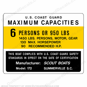 Boat Capacity Plate Decal - Scout 6 Person