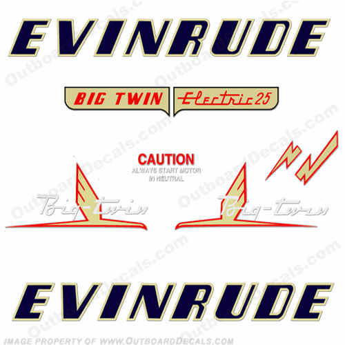 Evinrude 1954 25hp Electric Engine Decals