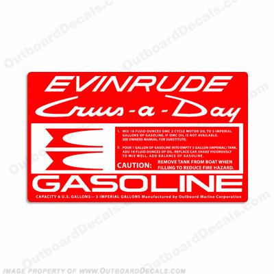 Evinrude 1961-1968 6 Gallon Gas Tank Decal
