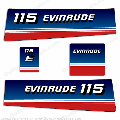 Evinrude 1980 115hp Outboard Engine Decals