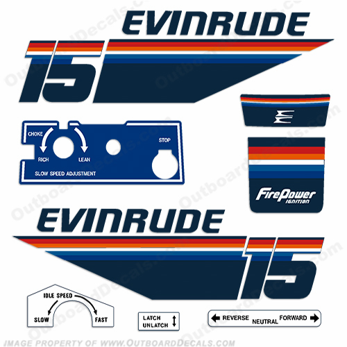 Evinrude 1978 15hp Outboard Engine Decals