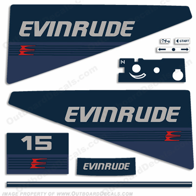 Evinrude 1986 15hp Outboard Engine Decals