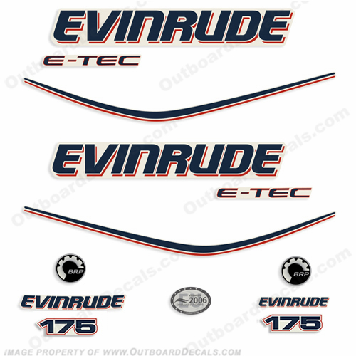Evinrude 175hp e-Tec Outboard Decal Kit