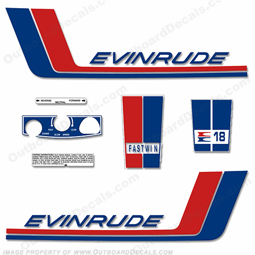 Evinrude 1972 18hp Outboard Engine Decals