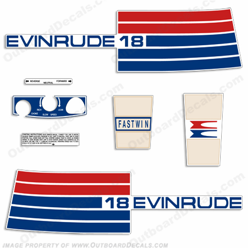 Evinrude 1973 18hp Outboard Engine Decals
