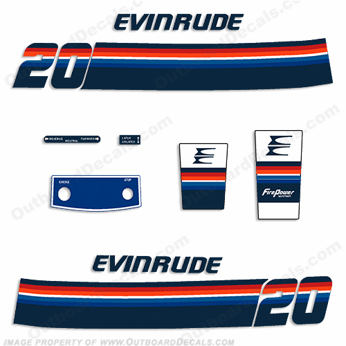 Evinrude 1978 20hp Outboard Engine Decals