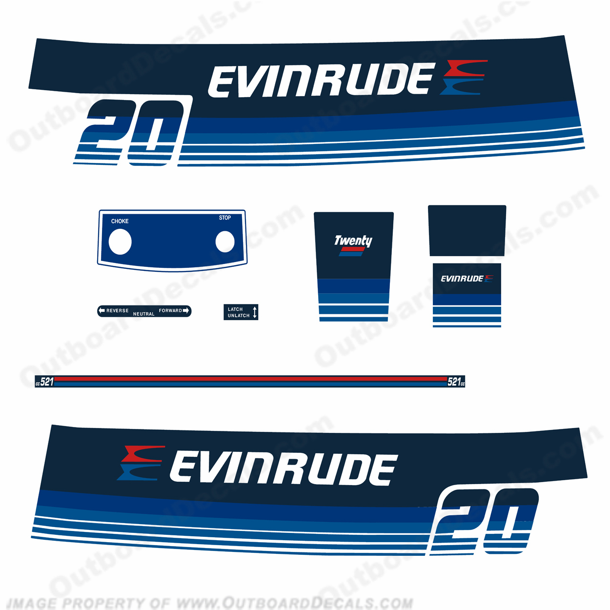 Evinrude 1979 20hp Outboard Engine Decals