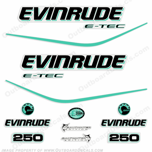 Evinrude 250hp e tec decal kit aqua for Custom outboard motor decals
