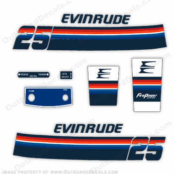 Evinrude 1978 25hp Outboard Engine Decals