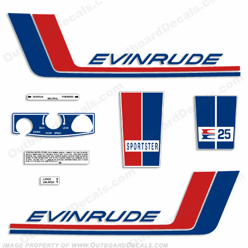 Evinrude 1972 25hp Decal Kit