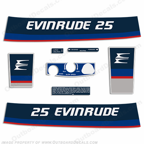 Evinrude 1975 25hp Outboard Engine Decals