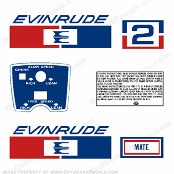 Evinrude 1971 2hp Outboard Engine Decals