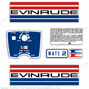 Evinrude 1973 2hp Outboard Engine Decals