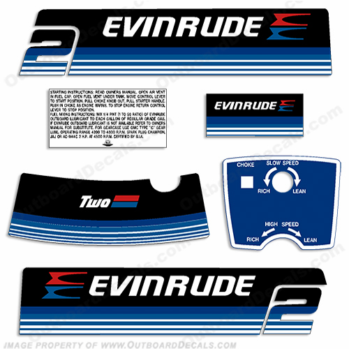 Evinrude 1979 2hp Outboard Engine Decals