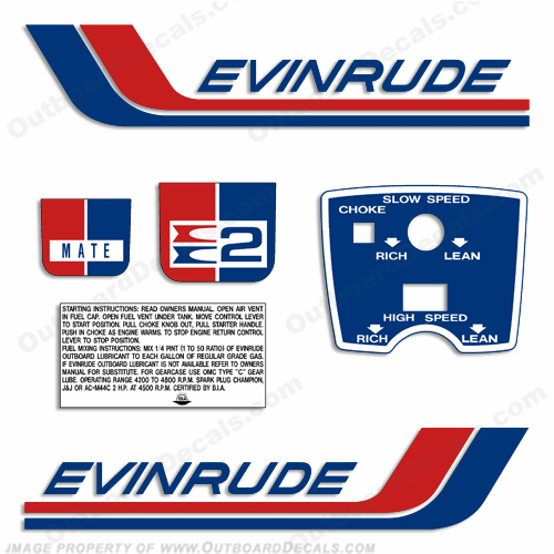 Evinrude 1972 2hp Outboard Engine Decals