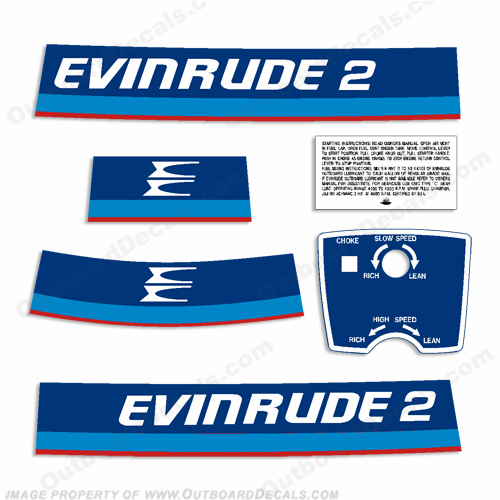 Evinrude 1975 2hp Outboard Engine Decals