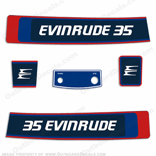 Evinrude 1976 35hp Outboard Engine Decals