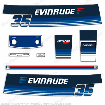 Evinrude 1979 35hp Outboard Engine Decals