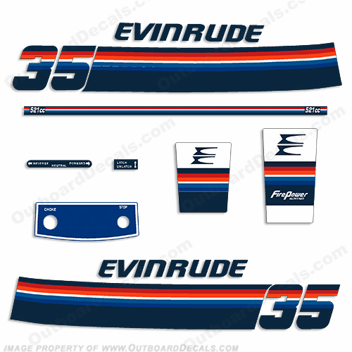 Evinrude 1978 35hp Outboard Engine Decals