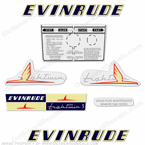 Evinrude 1954 3hp Outboard Engine Decals