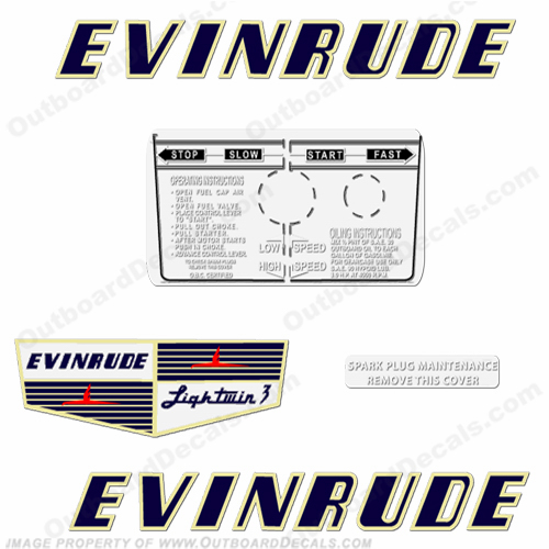 Evinrude 1955 3hp Outboard Engine Decals
