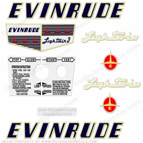 Evinrude 1956 3hp Engine Decals