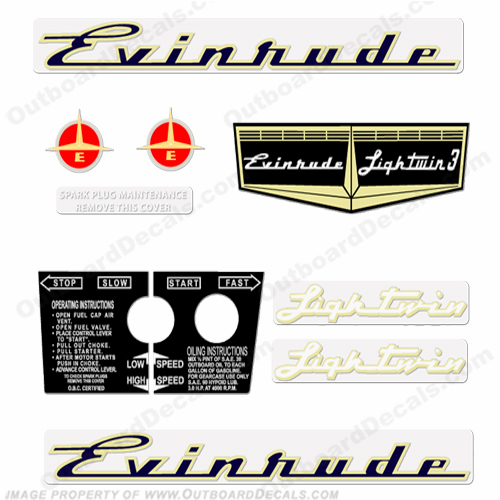 Evinrude 1957 3hp Outboard Engine Decals