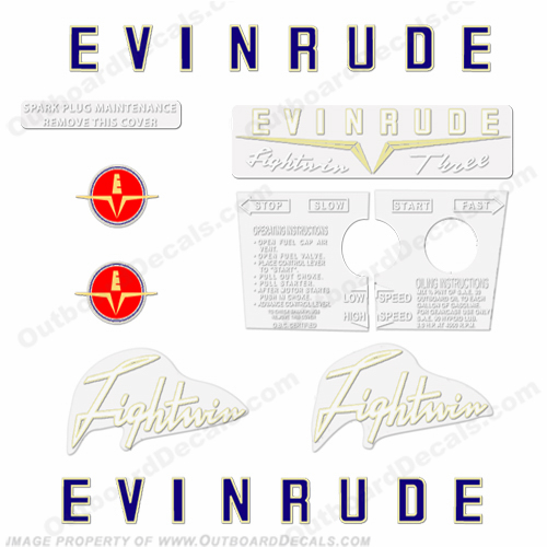 Evinrude 1958 3hp Outboard Engine Decals