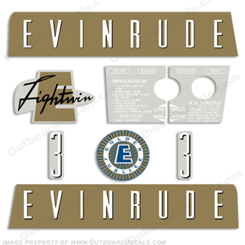 Evinrude 1959 3hp Outboard Engine Decals