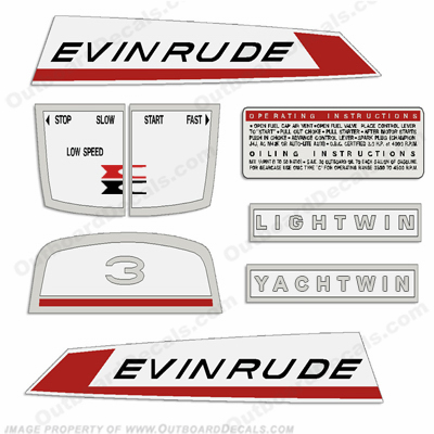 Evinrude 1967 3hp Outboard Engine Decals