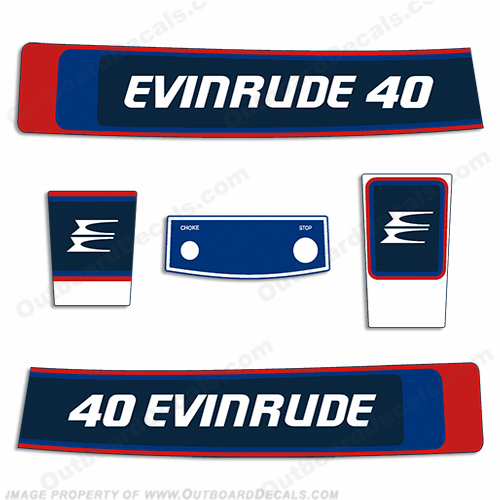 Evinrude 1976 40hp Outboard Engine Decals