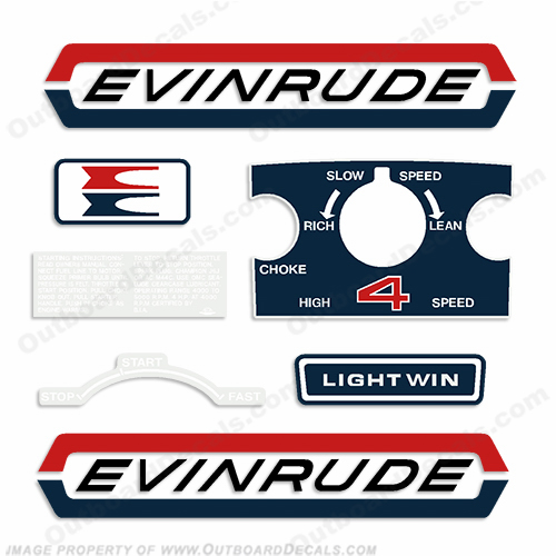 Evinrude 1970 4hp Outboard Engine Decals