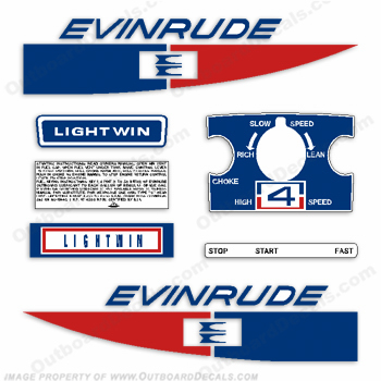 Evinrude 1971 4hp Outboard Engine Decals