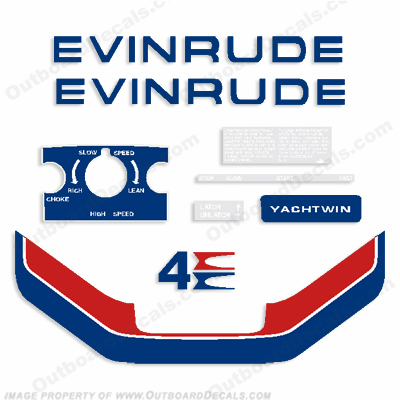 Evinrude 1974 4hp Yachtwin Outboard Engine Decals