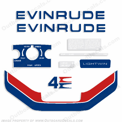 Evinrude 1974 4hp Lightwin Outboard Engine Decals