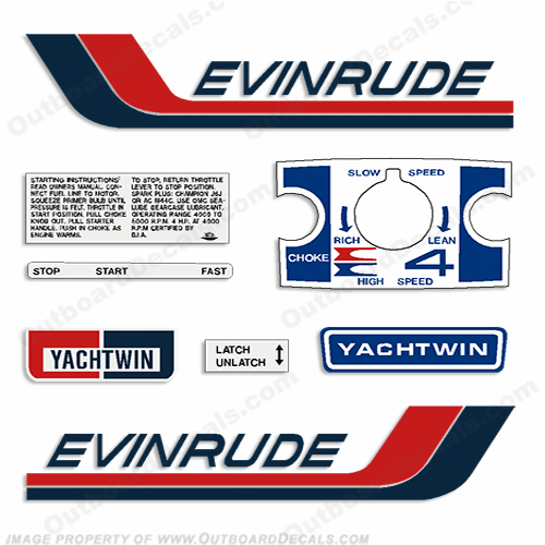 Evinrude 1972 4hp Outboard Engine Decals