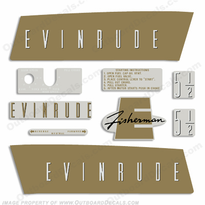 Evinrude 1959 5.5hp Outboard Engine Decals