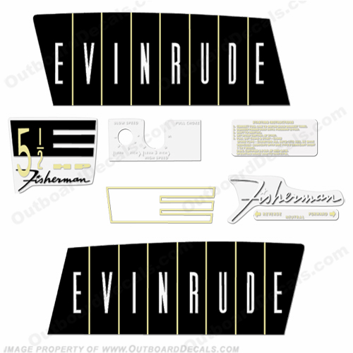 Evinrude 1960 5.5hp Outboard Engine Decals