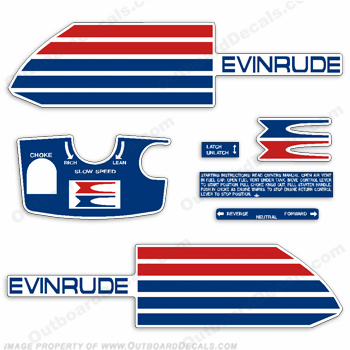 Evinrude 1973 6hp Outboard Engine Decals