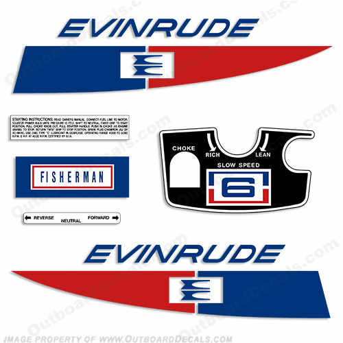Evinrude 1971 6hp Outboard Engine Decals