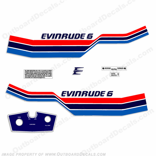 Evinrude 1977 6hp Outboard Decal Kit