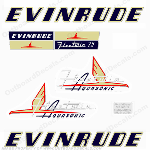 Evinrude 1954 7.5hp Decal Kit
