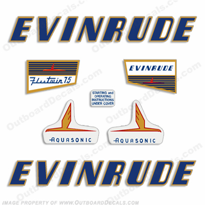 Evinrude 1955 7.5hp Engine Decals