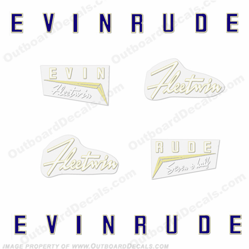 Evinrude 1958 7.5hp Outboard Engine Decals