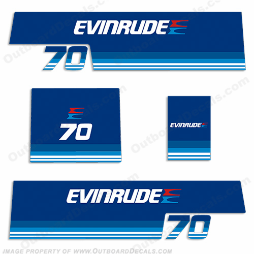 Evinrude 1979 70hp Outboard Engine Decals